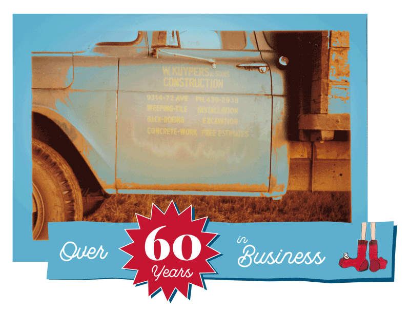 Over 60 years banner art with old Kuypers truck